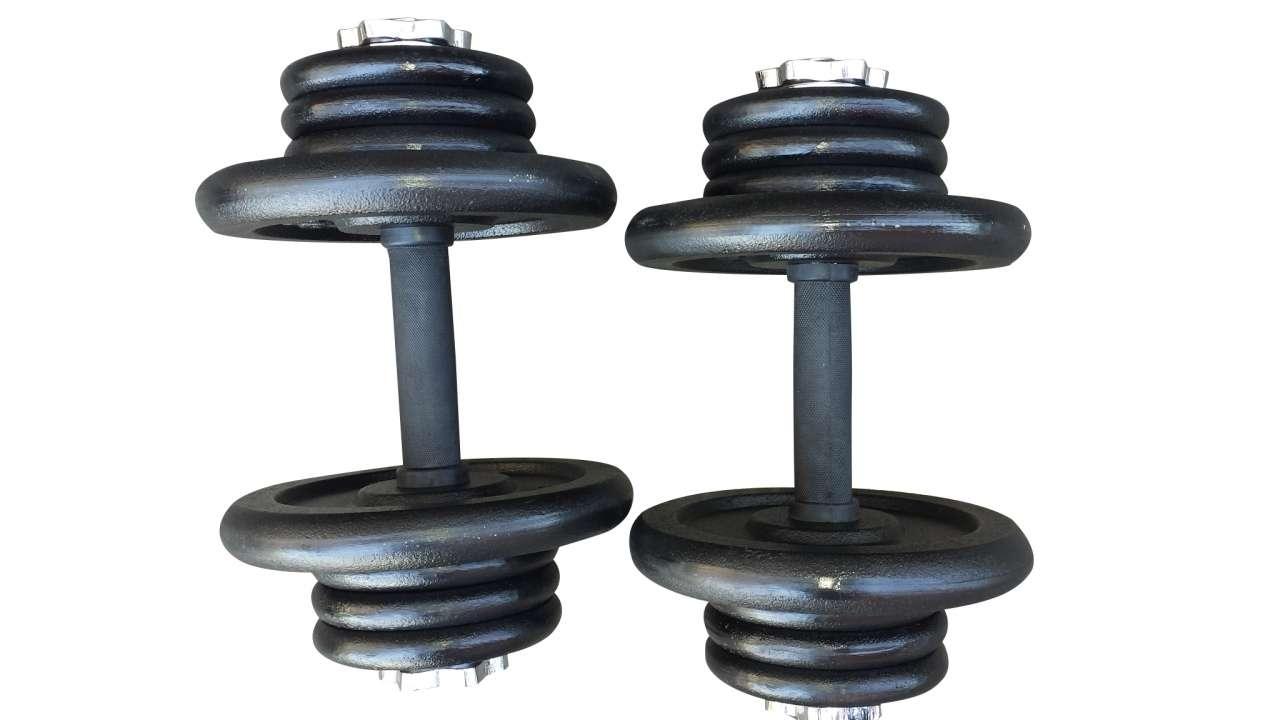 2x bučice po 17,5kg (4x5kg i 12x1.25kg)