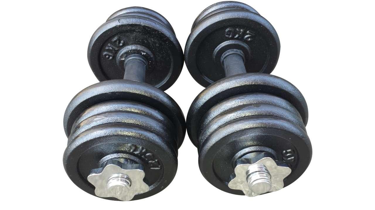 2 bučice po 11.5kg (4x2kg i 12x1.25kg)