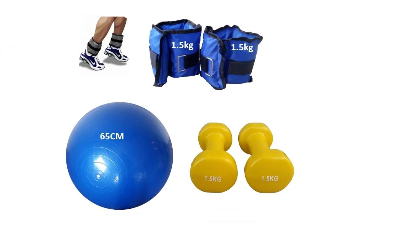 Set 1.5kg bučice, tegovi za noge 1.5kg i pilates lopta 65cm